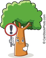 With sign tree character cartoon style