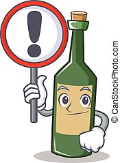 With sign wine bottle character cartoon