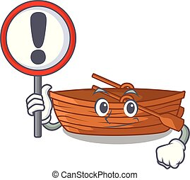 With sign wooden boat in the cartoon shape