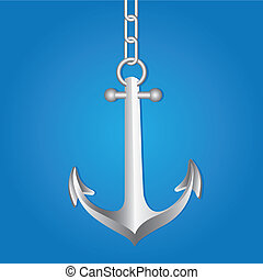with silver anchor link chain