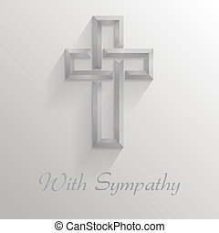 Square card with a 3d shadowed cross and text reading %u201CWith Sympathy%u201D. Please note: this file is EPS10 and uses transparencies.