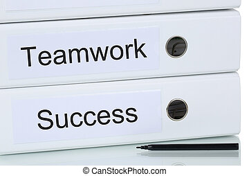 With teamwork and team to success business concept