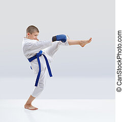 With the blue overlays on the hands athlete is training kick leg