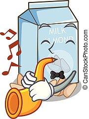 With trumpet almond milk in the cartoon bottle