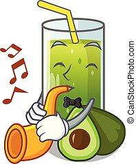 With trumpet avocado smoothies are isolated on characters