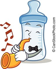 With trumpet baby bottle character cartoon