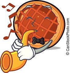 With trumpet baket pie mascot cartoon