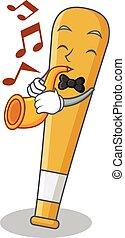 With trumpet baseball bat character cartoon