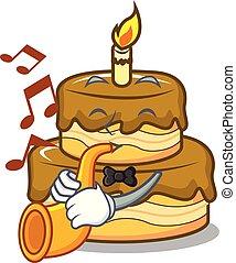 With trumpet birthday cake mascot cartoon