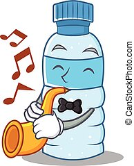 With trumpet bottle character cartoon style
