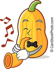 With trumpet butternut squash mascot cartoon vector...