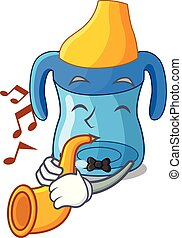 With trumpet cartoon baby drinking from training cup
