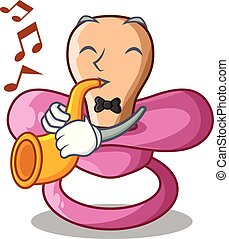 With trumpet cartoon pacifier for a newborn baby