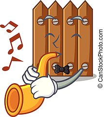 With trumpet cartoon wooden fence over the grass