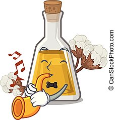 With trumpet cottonseed oil in the cartoon shape vector ...