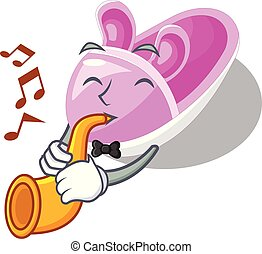 With trumpet cute baby shoes in shape cartoon