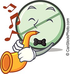 With trumpet drug tablet mascot cartoon