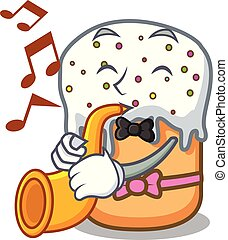 With trumpet easter cake mascot cartoon
