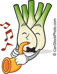 With trumpet fennel mascot cartoon style vector illustration