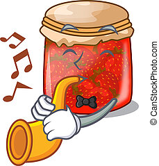 With trumpet fresh tasty strawberry jam on mascot vector...
