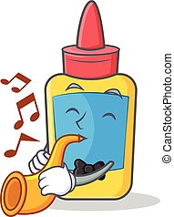 With trumpet glue bottle character cartoon