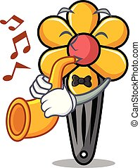 With trumpet hair clip mascot cartoon vector illustration