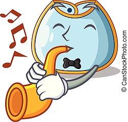 With trumpet homemade baby bib of cloth cartoon