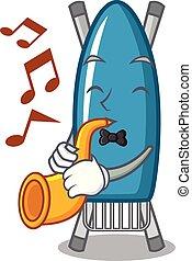 With trumpet iron board mascot cartoon vector illustration
