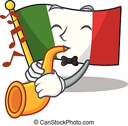 With trumpet italy flags isolated wth the cartoon