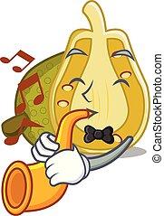 With trumpet jackfruit mascot cartoon style vector...