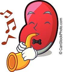 With trumpet jelly bean mascot cartoon vector illustration