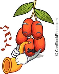 With trumpet jujube fruit in the shape mascot vector illustration