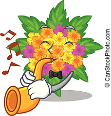With trumpet lantana flowers in the cartoon shape vector illustration