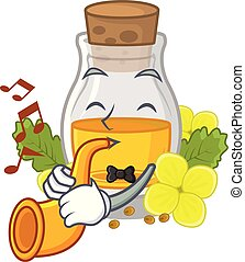 With trumpet mustard oil wrapped in mascot box vector ...