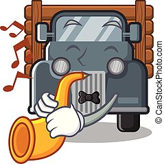 With trumpet old truck in the mascot shape