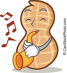 With trumpet peanut character cartoon style