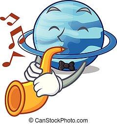 With trumpet planet uranus in the cartoon form vector...