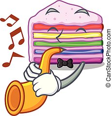 With trumpet rainbow cake in the cartoon shape