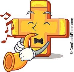 With trumpet retro plus sign addition symbol cartoon