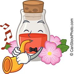 With trumpet rose seed oil the cartoon shape