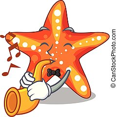 With trumpet starfish isolated with in the cartoons