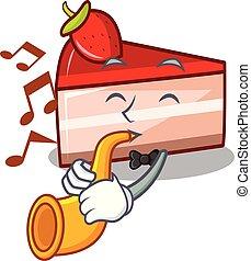 With trumpet strawberry cake mascot cartoon