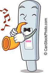 With trumpet test pack in cartoon medicine cabinet