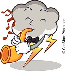 With trumpet thunder cloud character cartoon vector...