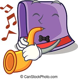 With trumpet towel on the wooden rack character vector...