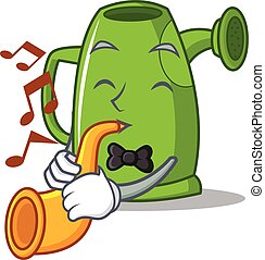 With trumpet watering can character cartoon