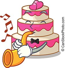 With trumpet wedding cake in a cartoon fridge