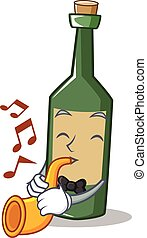 With trumpet wine bottle character cartoon