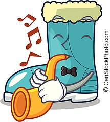 With trumpet winter boot on the character rak vector ...