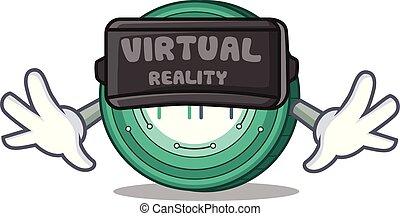 With virtual reality Maker coin mascot cartoon vector ...